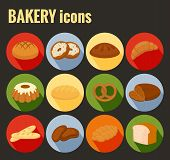 foto of staples  - Set of colored vector bakery icons with a variety of bread loaves  baguette  pretzel  rolls  doughnuts  croissant and cake on round buttons with shadow - JPG