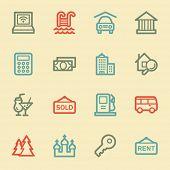 Travel web icon set 4, retro color