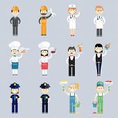 pic of interior decorator  - Male and female professional character vector set with doctor and nurse  cook and chef  waiter and waitress  police sergeants  interior decorators and construction workers - JPG