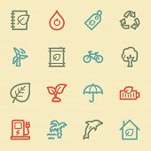 Green ecology web icon set 4, retro color