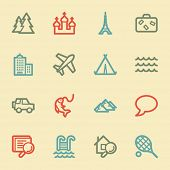 Travel web icon set 2, retro color