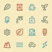 Green ecology web icon set 3, retro color