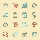 Shopping web icons, retro color