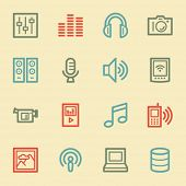 Media web icons, retro color