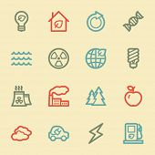 Green ecology web icon set 1, retro color