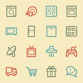 Home appliances web icons, retro color