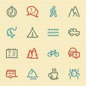 Travel web icon set 3, retro color