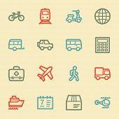 Transport web icons, retro color