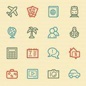 Travel web icon set 5, retro color