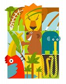 Flat African Animals Symbols Set