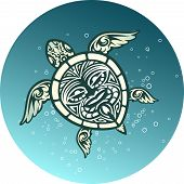 pic of omnivore  - Swimming sea turtle with a Polynesian tribal pattern on its carapace in blue water with bubbles  round vector icon - JPG