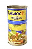 West Point - August 17, 2014: Can of LaChoy Beef Pepper Oriental with sauce and Asian style vegetabl