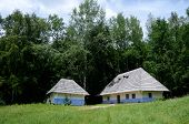 Traditional Old Rural Ukrainian Wattle And Daub Houses In Pirogovo Park,ukraine,europe, Unesco Herit