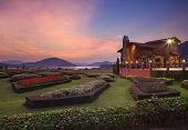 Chonburi Thailand-january 1 : Beautiful Dusky Sky At Silver Lake Coffee House Important Visitor Land