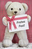 Teddy Bear With A Red And White Checkered Greeting Card With Merry Christmas