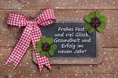 Greeting Card For Christmas And Happy New Year With Clovers In Country Style