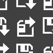 floppy disk download web icon. flat design. Seamless gray pattern.