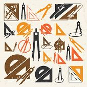 School Drawing Tools  Icons Set