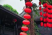 Rows Of Red Chinese Papar Lanterns