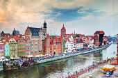 Top view on Gdansk old town and Motlawa river, Poland at sunset. Also known as Danzig and the city o
