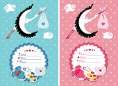 Baby shower invitations .Newborn set with stork