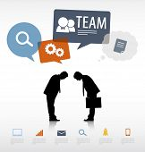 Vector Two Businessmen Bowing with Social Media Concept