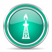 gas green glossy web icon