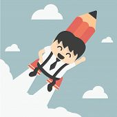 Businessman Flying With A Rocket Pencil