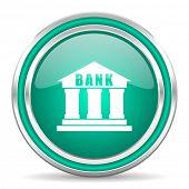 bank green glossy web icon