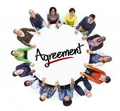 Multi-Ethnic Group of People and Agreement Concepts