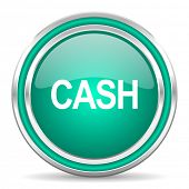 cash green glossy web icon