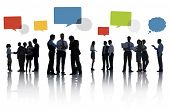 Silhouette Group Of Business People with Speech Bubbles