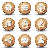 Funny Wood Icons And Buttons For Ui Game