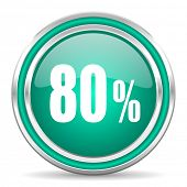 80 percent green glossy web icon