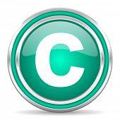 copyright green glossy web icon