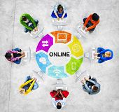 People Social Networking and Online Concept