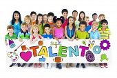 Diverse Cheerful Children Holding the Word Talent