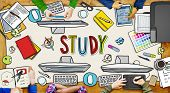 People and Study Concept with Photo Illustrations