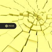 Cracked background. 3d vector illustration.