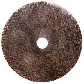 picture of abrasion  - Old abrasive disk for metal grinding cutting isolated on white background - JPG