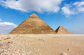 The Two Large Pyramids At Giza, Cairo