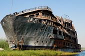 Burned Derelict Cruise Boat On The Nile.