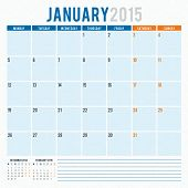 Calendar Planner 2015 Template Week Starts Monday