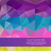 Bright rainbow vector background from mosaic triangles. Good for web, mobile devices, website and mo