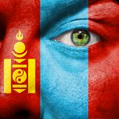 Flag Painted On Face With Green Eye To Show Mongolia Support