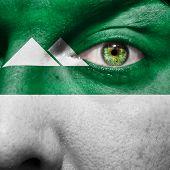 Kurgan Flag Painted On A Man's Face