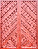 red wooden plank door