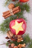 red apple and christmas decoration