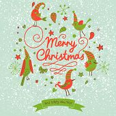 Fantastic Merry Christmas card in vector. Cute stylish birds on Merry Christmas text on bright blue