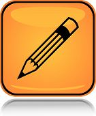 Yellow square icon writing pencil with reflection